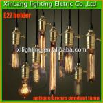 Best quality E27 lamp holder antique bronze pendant lamp with edison bulb china factory-XL-001 copper