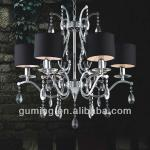 UL CE 2013 hot sale Hotel/ living Lobby room Chandelier/pendant Lamp lighting with Black Fabric Shade GMMD1105-6B-GMMD1105-6B