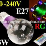 90~240V 3W E27 RGB LED lamp RGB LED Light Purple Crystal Flash Led Spot light w/ Remote Control free shipping-