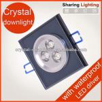 3W crystal recessed down light,Indoor square led ceiling downlight housing-Huizhuo Lighting