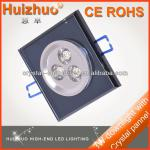 [Huizhuo Lighting] 3W square crystal recessed down light,Indoor square led ceiling downlight housing,porch light-Sharing Lighting