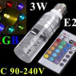 AC 90~240V 3W E27 RGB LED Bulb Lamp 16 Color changing Crystal LED spot light with Remote Control free shipping-