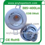 385~400Lm high lumen recessed 5W COB led downlight with CE RoHS-AH-EB-1-5
