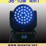 36x10w LED Moving Head Light 4in1 LED Stage Light quad LED Moving Head-BK-LM4in1-36A