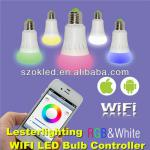 Hot Sale New 2.4g WIFI RGBW Intelligent Bulbs Android and Iphone Mobile Phone Controlled-RGBW Intelligent Bulb