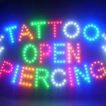 60056 Tattoo Open Piercing Fantastic Valentine Lizard Death Angel Wing LED Sign-60056
