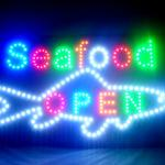 60046 Seafood Sea food PLATTERS Tempting Buffet Oysters Dining Sunshine LED Sign-60046